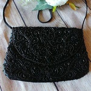NWOT Black Beaded Dressy Bag